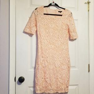 Peach Lace Overlay Dress